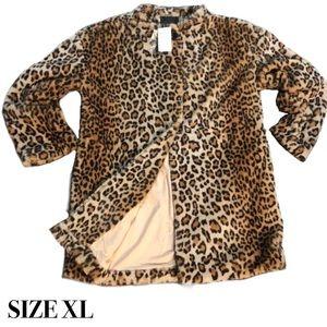 Sanctuary Long Leopard Faux Fur Coat XL NWT